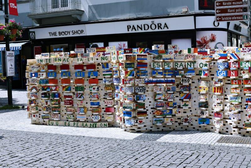 慈善事件慈善砖在布拉格 免版税库存图片