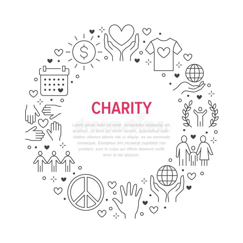 慈善传染媒介与平的线象的圈子横幅 捐赠,非盈利性组织,NGO,给帮助例证 皇族释放例证