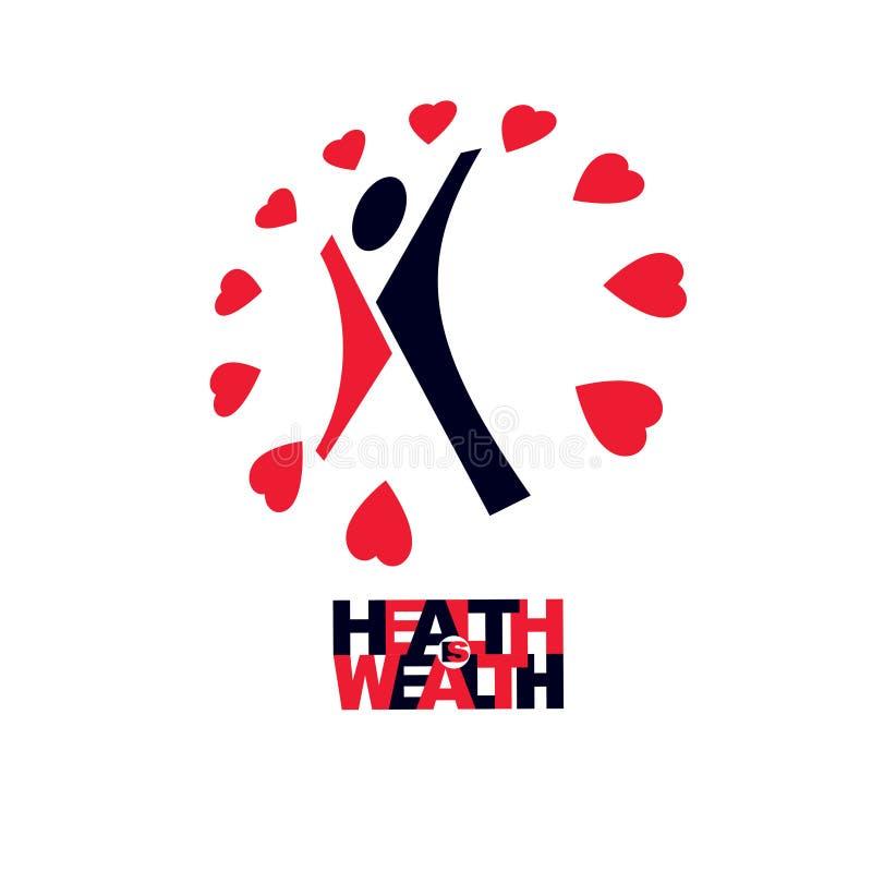 慈善和志愿者概念性商标,标志 健康和害处 向量例证. 图片