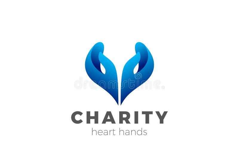 慈善帮助手心脏形状商标设计传染媒介 向量例证