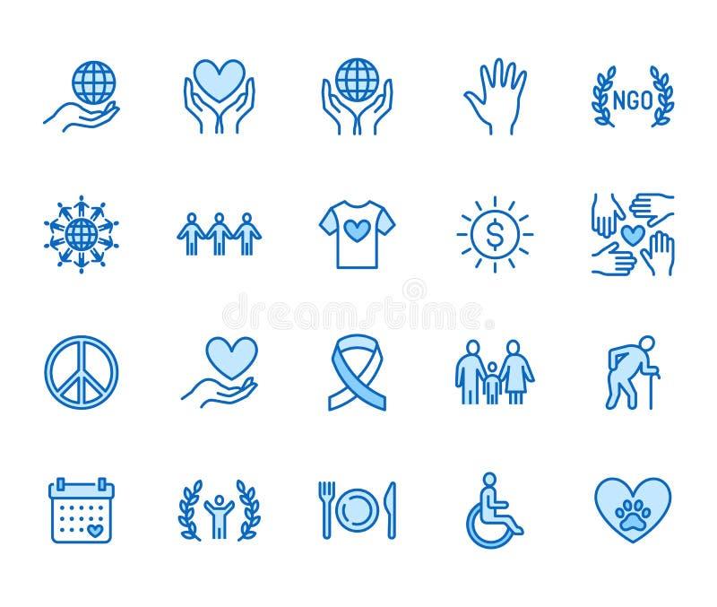 慈善平的线象集合 捐赠,非盈利性组织,NGO,给帮助传染媒介例证 概述标志为 向量例证