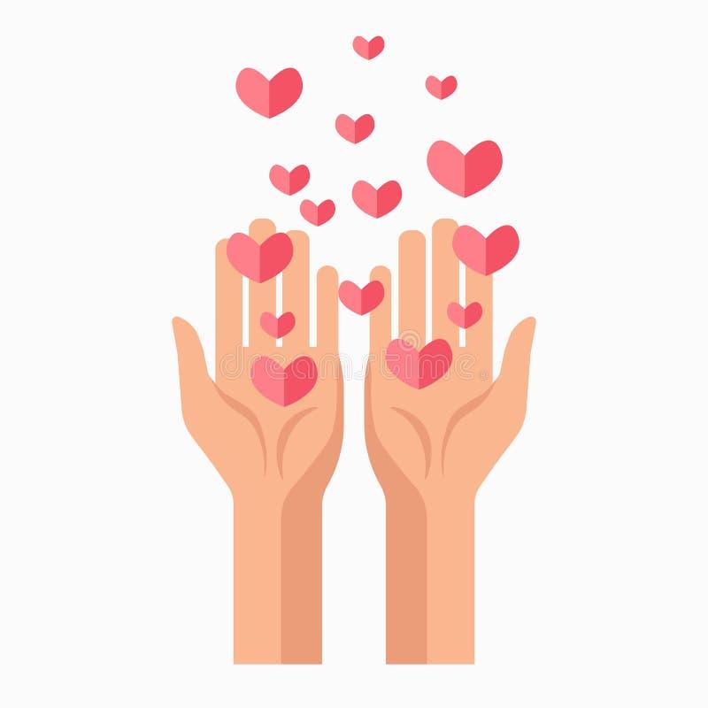 慈善手和心脏献血导航模板象 皇族释放例证