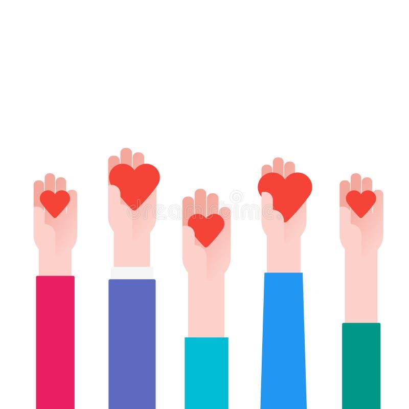 慈善概念 捐赠人在手上的拿着心脏 传染媒介例证平的设计 背景查出的白色 志愿海报 向量例证