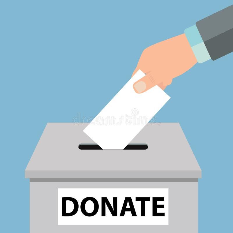 慈善象概念 投入金钱硬币在捐赠箱子-传染媒介的手 库存照片
