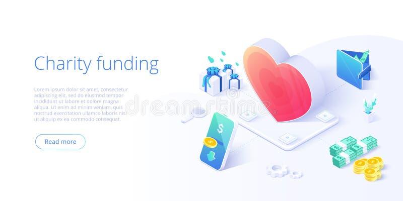 慈善资金或关心在等量传染媒介概念 志愿社区或捐赠隐喻例证 网横幅布局为 皇族释放例证