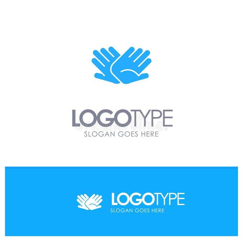 慈善,手,帮助,帮助,与地方的联系蓝色坚实商标口号的 向量例证