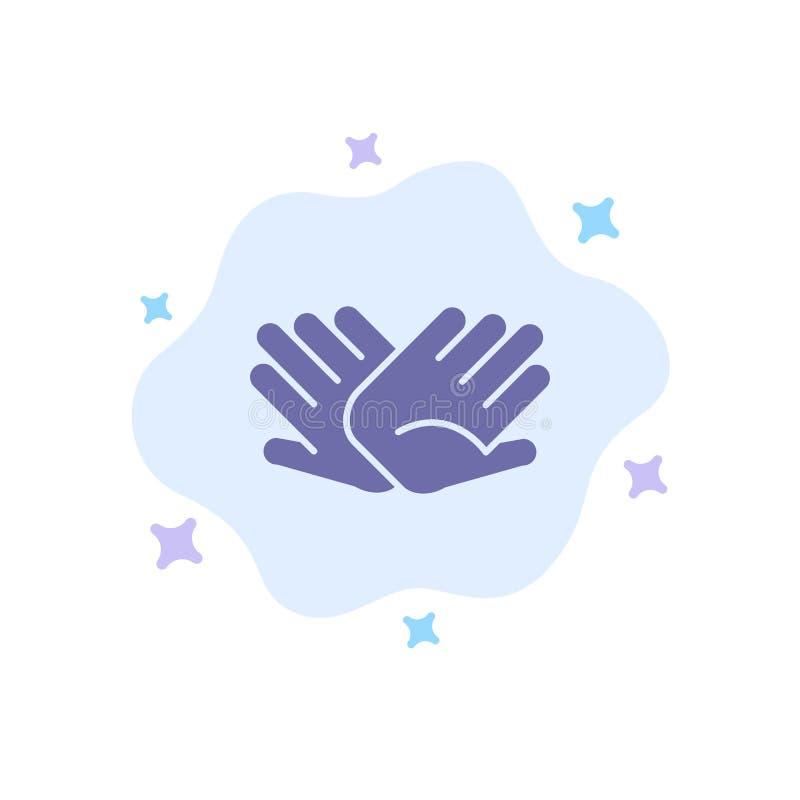 慈善,手,帮助,帮助,在抽象云彩背景的联系蓝色象 向量例证