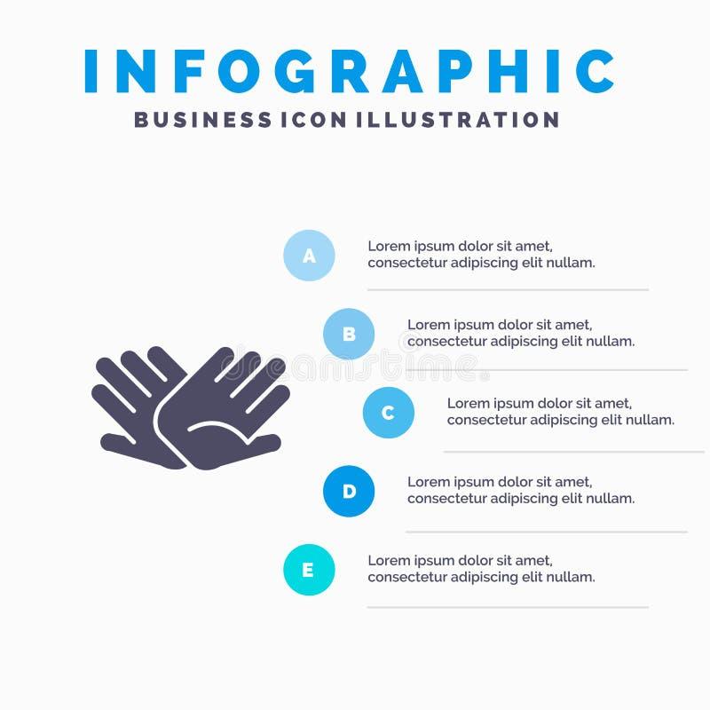 慈善,手,帮助,帮助,联系坚实象Infographics 5步介绍背景 库存例证