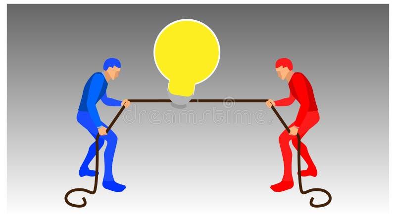 两个人争先恐后地拉绳子来拿灯泡 蓝色和红色的团队争先恐后 全体和横向矢量 向量例证