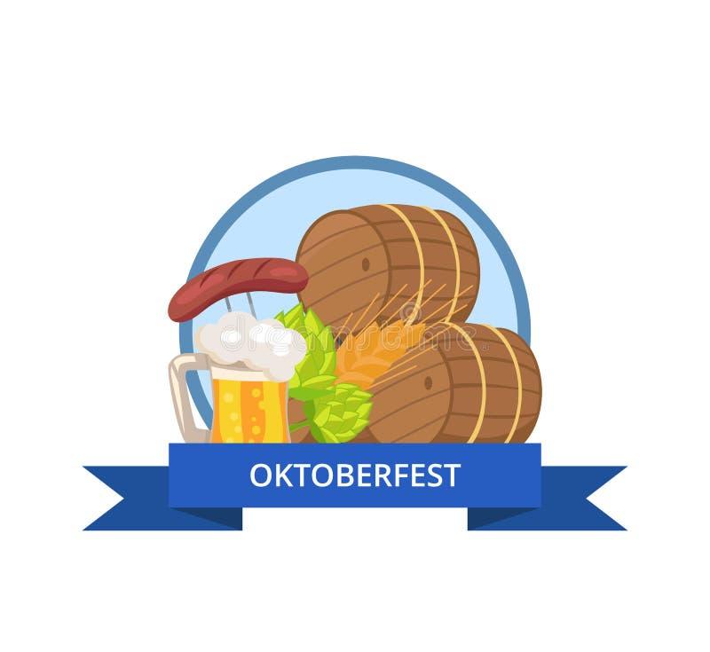 慕尼黑啤酒节与木桶装啤酒杯子的商标设计 皇族释放例证