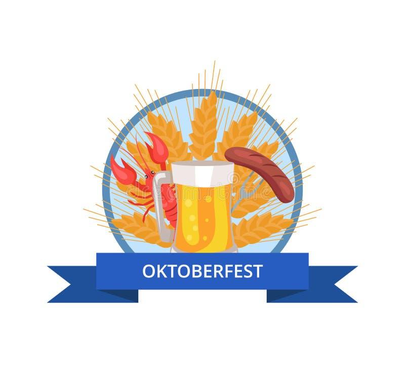 慕尼黑啤酒节与杯的商标设计啤酒,格栅 皇族释放例证