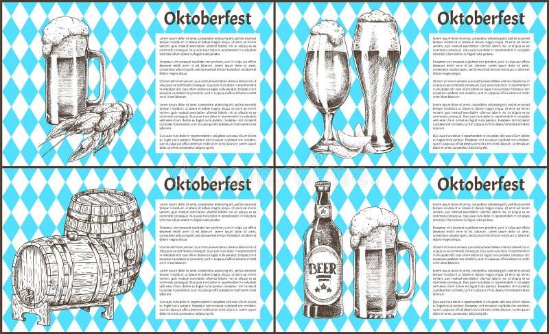 慕尼黑啤酒节啤酒对象设置了手拉的象 向量例证