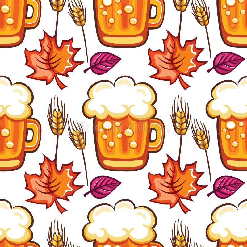 慕尼黑啤酒节啤酒无缝的样式 动画片啤酒杯、麦子和秋天叶子 向量 向量例证