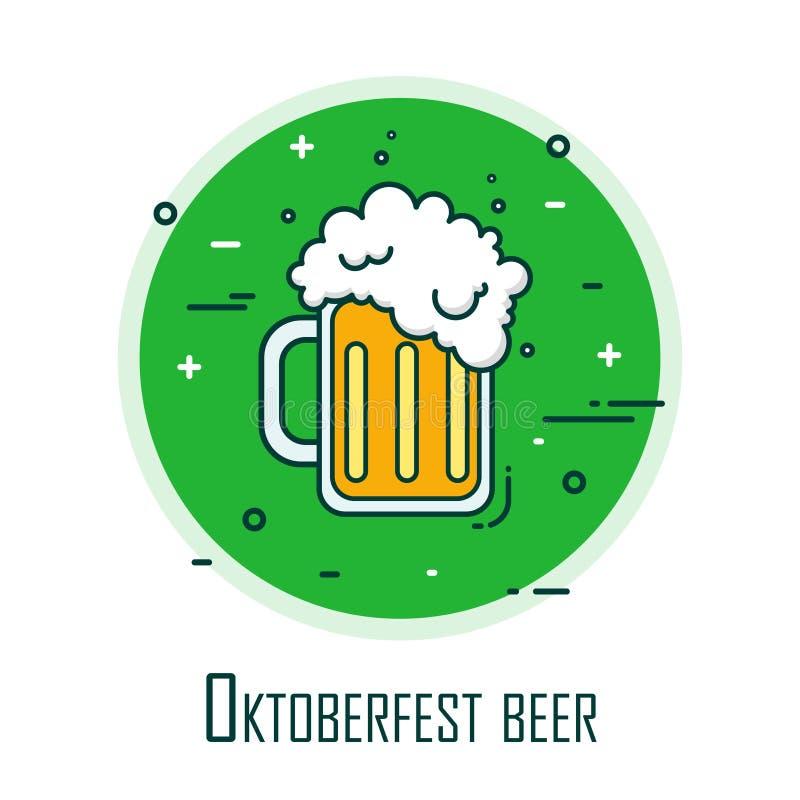 慕尼黑啤酒节的风格化商标与啤酒杯 稀薄的线平的设计 背景看板卡prelambulator镶边向量 库存例证