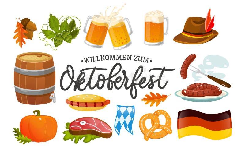 慕尼黑啤酒节食物和标志汇集 传染媒介慕尼黑啤酒节对象和象与在题字欢迎上写字到慕尼黑啤酒节 向量例证