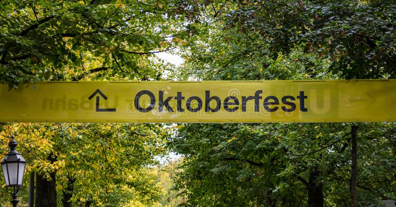 慕尼黑啤酒节,慕尼黑 德国 黄色情报标志,oktoberfest的文本,绿色树背景 免版税库存图片