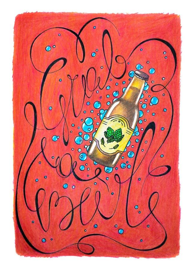 慕尼黑啤酒节`劫掠啤酒`印刷术手拉的例证 红色海报用啤酒和字法 皇族释放例证