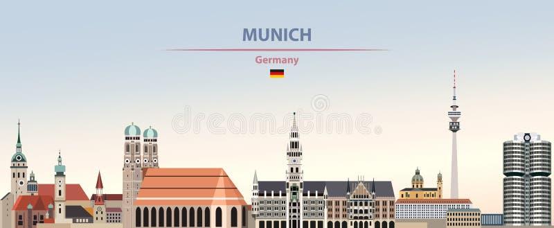 慕尼黑在五颜六色的梯度好天气天空背景的市地平线的传染媒介例证与德国的旗子 向量例证