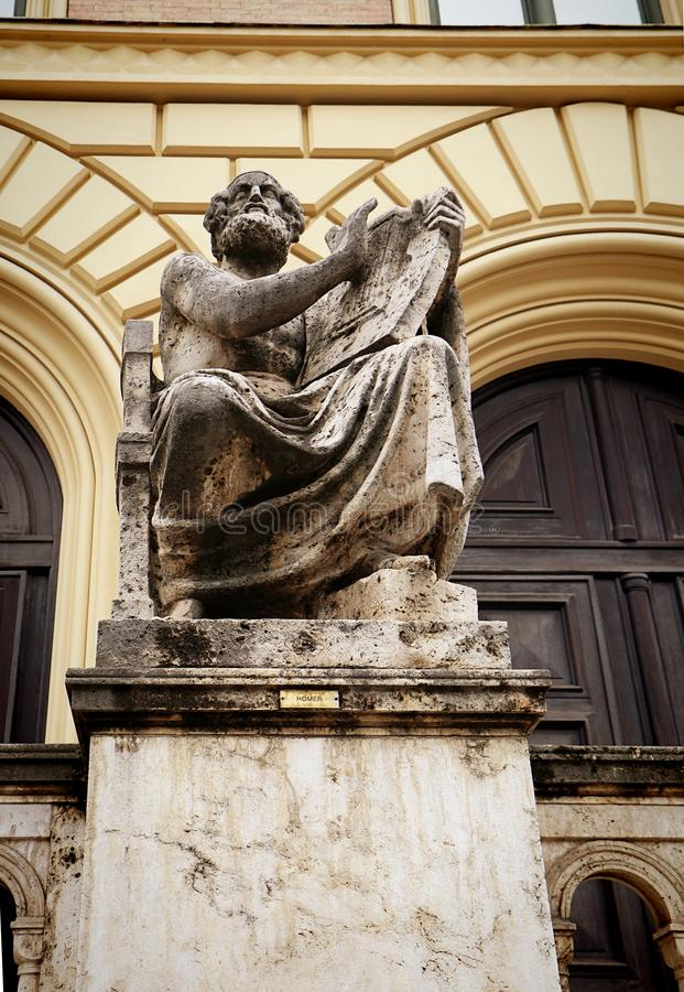 慕尼黑-荷马,希腊诗人雕象 库存照片