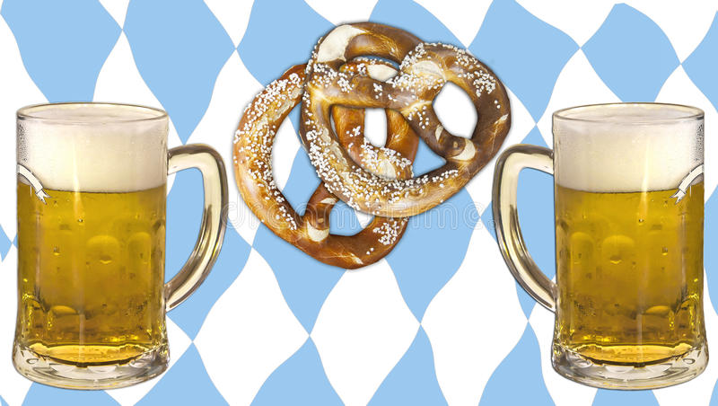 慕尼黑啤酒节、啤酒、椒盐脆饼和巴伐利亚颜色 免版税库存图片