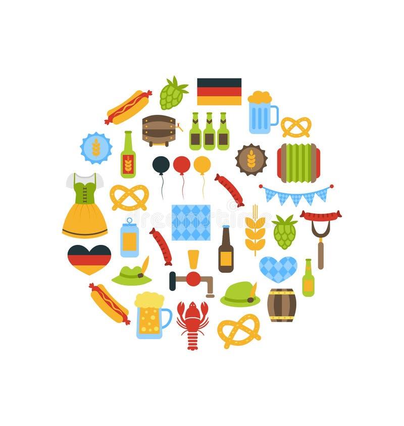 慕尼黑啤酒节五颜六色的标志 皇族释放例证
