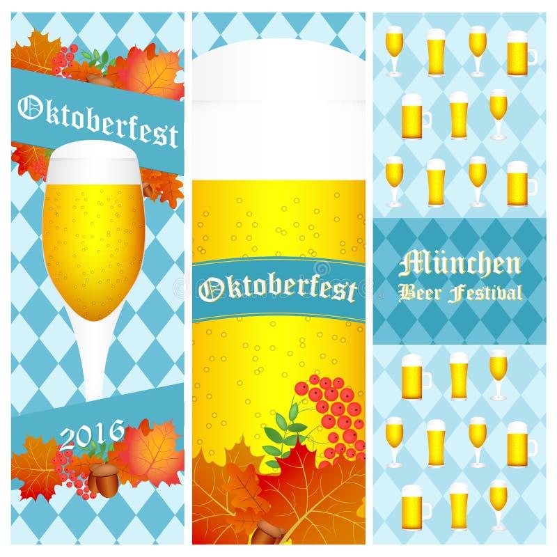 慕尼黑啤酒节在白色的2016副垂直的横幅 也corel凹道例证向量 库存例证