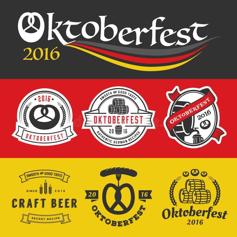 慕尼黑啤酒节徽章商标和标号组 向量例证