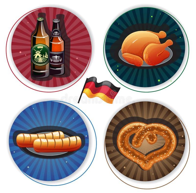 慕尼黑啤酒节标签用啤酒和快餐 库存例证