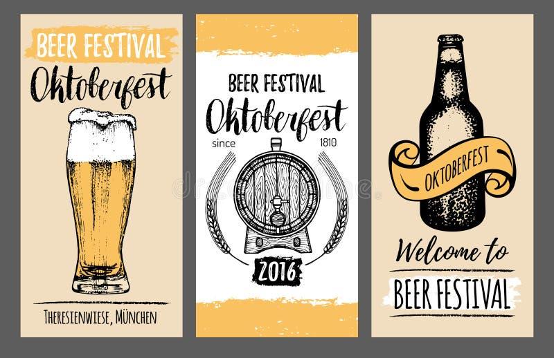 慕尼黑啤酒节飞行物 啤酒节日卡片用手速写了玻璃,桶,瓶 传染媒介啤酒厂海报 Wiesn标志 库存例证