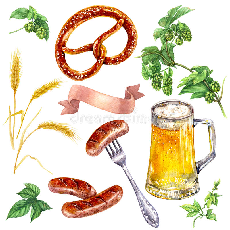慕尼黑啤酒节食物饮料集合 向量例证