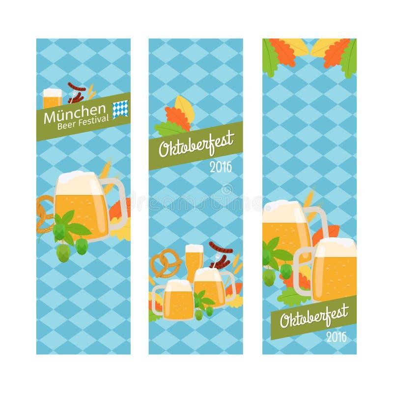慕尼黑啤酒节2016副垂直的横幅 库存例证