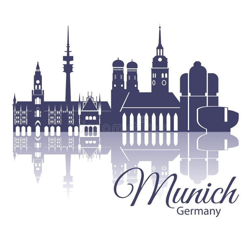 慕尼黑地平线,详细的剪影 时髦传染媒介例证,平的样式 时髦的五颜六色的慕尼黑地标 库存例证