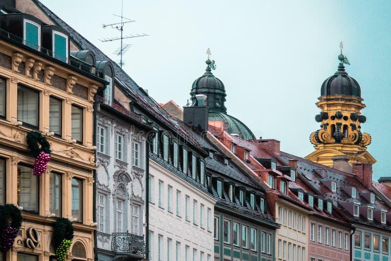 慕尼黑大厦和房子,德国 库存图片