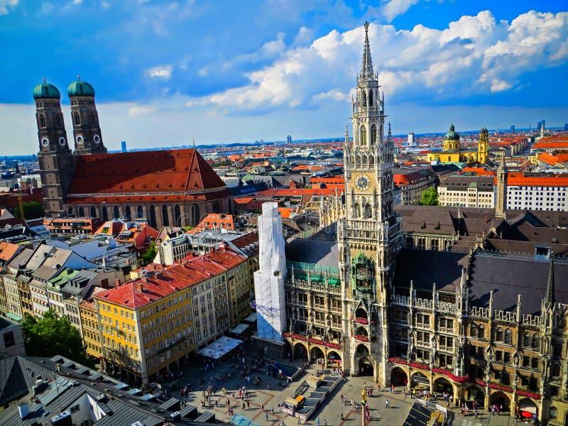 慕尼黑- Marienplatz鸟瞰图-巴伐利亚-慕尼黑,德国 库存图片