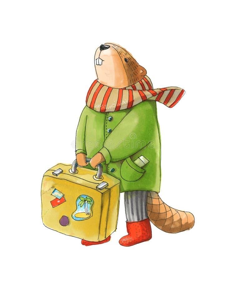 慢慢移动在拿着手提箱的夹克和围巾 皇族释放例证