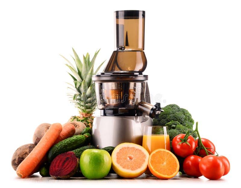 慢榨汁器用有机水果和蔬菜在白色 免版税库存图片