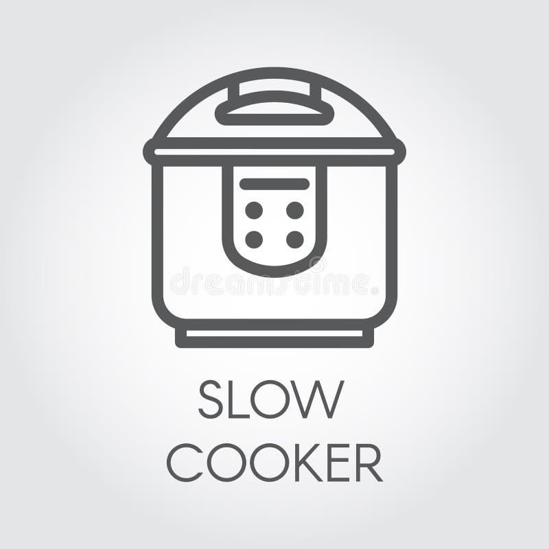 慢烹饪器材单音冲程线象 电子缸罐或火轮概述象形文字 厨房设备标签 库存例证