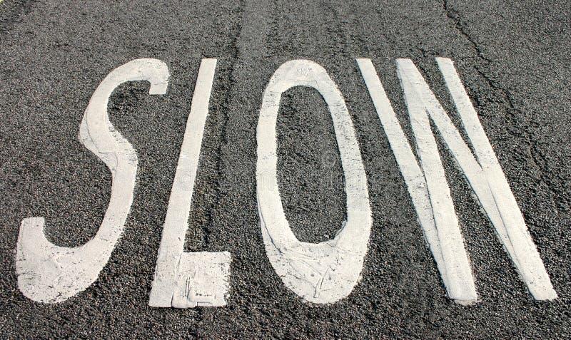 慢的路标 免版税图库摄影