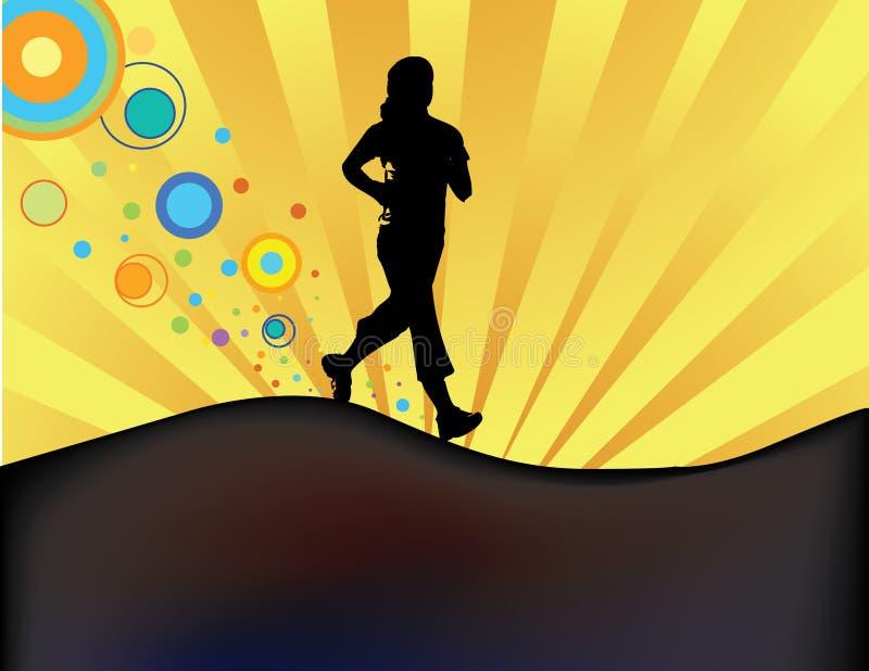 慢跑者剪影日落 向量例证