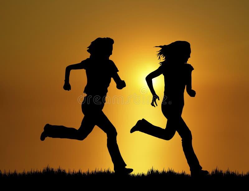 慢跑者日落 向量例证