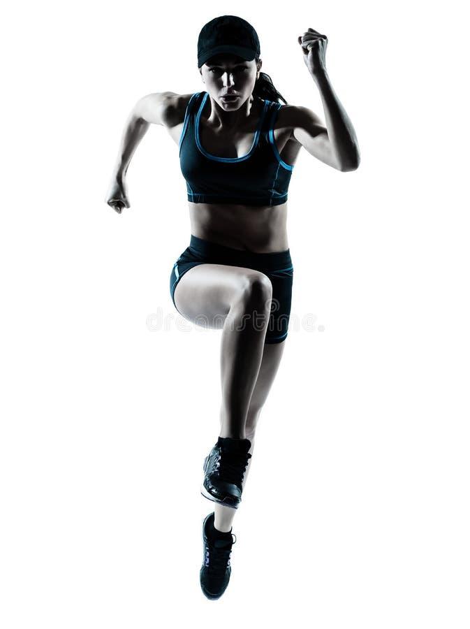 慢跑者跳的赛跑者妇女 库存照片