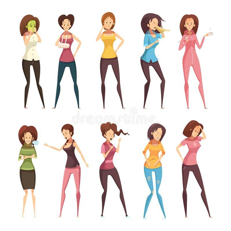 憔悴妇女减速火箭的动画片象集合 向量例证