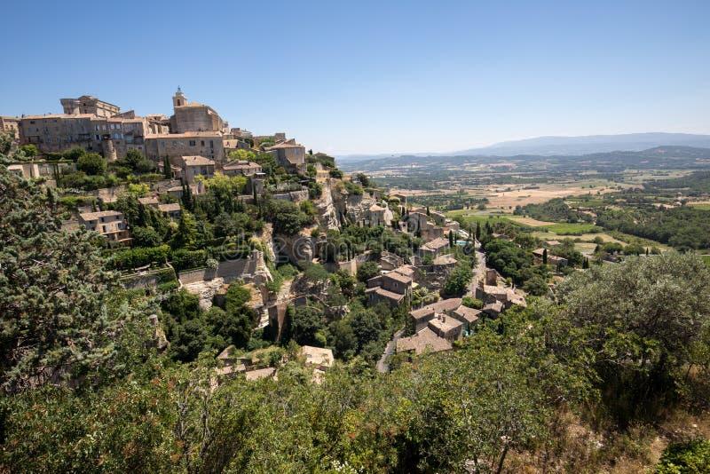 戈尔代中世纪小山顶镇  普罗旺斯 库存图片