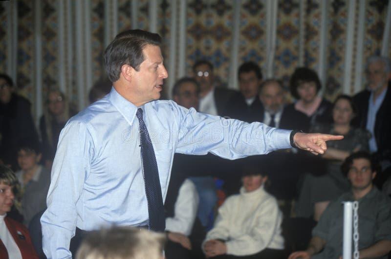 戈尔副总统为民主党总统候选人提名竞选在萨利姆,新罕布什尔,在主要前 免版税库存图片