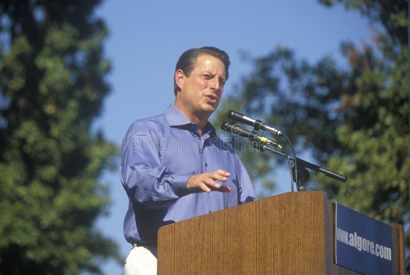 戈尔副总统为民主党总统候选人提名竞选在Lakewood公园在森尼韦尔,加利福尼亚 免版税库存照片