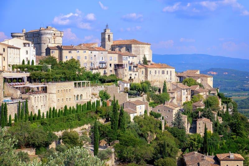 戈尔代,中世纪小山顶镇在普罗旺斯,法国 库存图片