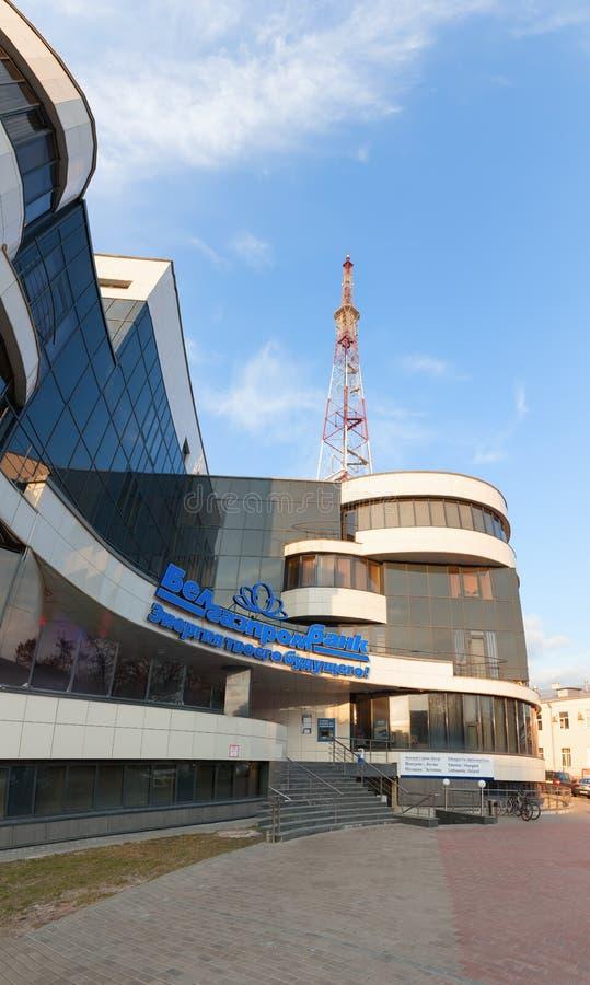 戈梅利,白俄罗斯- 2016年3月29日商业中心亚历克萨尼昂广场 电视塔 Sovetskaya 图库摄影