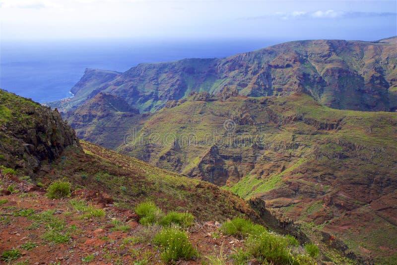 戈梅拉岛海岛,坎那利岛看法  免版税库存照片