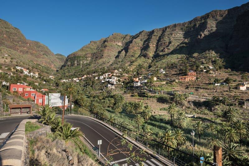 戈梅拉岛风景,峭壁在瓦尔Gran Rey 加那利群岛西班牙 库存图片