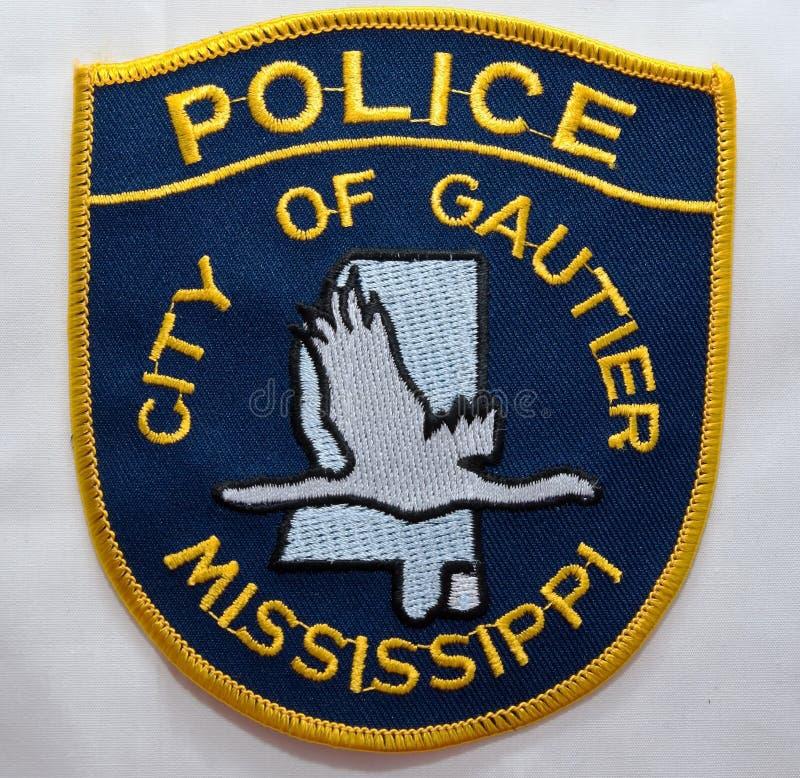 戈蒂埃警察局的肩章在密西西比 免版税库存照片